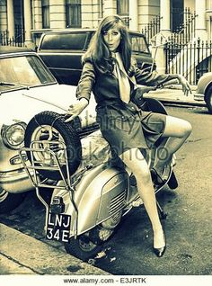 young woman on lambretta during a photographic style Stock Photo Vespa Bike, Scooter Motorcycle, Vespa Lambretta, Vespa Scooters, Mod Scooter, Scooter Girl, Vintage Vespa, Vintage Cars, Vintage Stuff