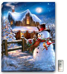 Woodhouse Christmas - Illuminated Fine Art – x Fully Backlit Artwork – Remote Control Included – Made in Oregon, USA – Bat Christmas Scenes, Christmas Cross, Country Christmas, Christmas Pictures, Winter Christmas, Christmas Lights, Christmas Time, Winter Snow, Illustration Noel
