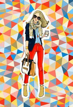 Illustration by Anna Lazareva, via Behance Art And Illustration, Graphic Design Illustration, Illustrations Posters, Fashion Illustrations, Coffee Art, Drink Coffee, Coffee Break, Piece Of Me, Fashion Sketches