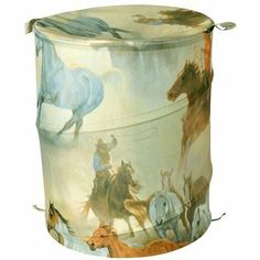 Casa Bella by Fine Art Creations Horses Round Up Hamper - 1806 - Hampers - Bed & Bath Laundry Storage, Kitchen Storage, Storage Organization, Home Kitchens, Cleaning Wipes, Horses, Fine Art, Hampers, Pop