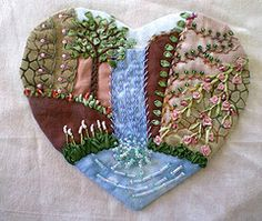 Crazy Embellishment Quilting Silk Ribbon Embroidery   ... Jo in NZ) Tags: landscape waterfall heart embroidery crazyquilting sre