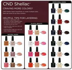 Shellac-aholics! Great color mixing chart to expand your choices.