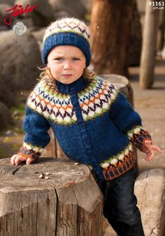 Wonderful Icelandic cardigan with matching hat.