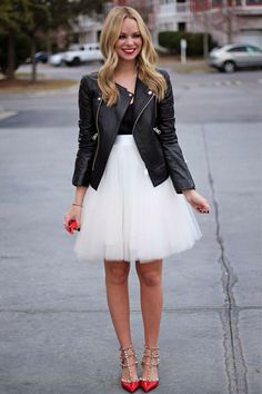 Style POP: The tulle skirt softens the edgy look of the moto jacket. Love the red studded stilettos!