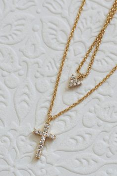 Holy cross and crystal triangle CZ / necklace double chain lord jesus Christ / minimalist pendant jewel catholic christian blessed   Etsy exvotodei