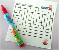 Peppa Pig Party Favor Maze and Crayon Set Pig Birthday, 2nd Birthday Parties, Birthday Ideas, George Pig Party, Crayon Set, Peppa Pig, Maze, Party Time, Favors