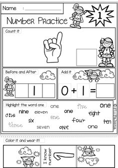 """There are 20 pages 1-20 number practice worksheets in this product. Also included 2 pages of number coloring. This product is great for pre-k, kindergarten and first grade students. It will help children to master numbers from 1 to 20 in a many different ways. Children will learn finger counting, number words, finding, number sequencing, coloring and adding. Also every time they finish a worksheet, they will be rewarded with """"I know the number"""" bracelet."""