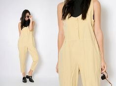 Vintage Jumpsuits / Vintage Pastel Yellow Jumpsuits / Retro Overalls Baggy jumpsuits Pants / Vintage Onesie Jumpsuits / L - Christmas Deesserts Baggy Jumpsuit, Yellow Jumpsuit, Vintage Jumpsuit, Pastel Yellow, Yellow Fabric, Crochet Hair Styles, Braided Hairstyles, 1970s, Jumpsuits