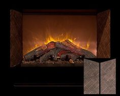 Modern Flames HF60CBI Built In Herringbone Brick 60' Fireplace /w Log Burners, Black