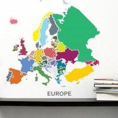 Map of Europe Mappa Politica dell'Europa Wall Sticker Adesivo da Muro