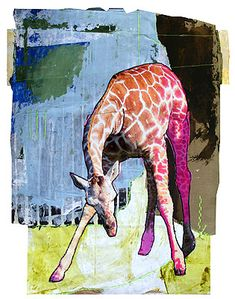 Jylian Gustlin's Animals Animal Painter, Animal Paintings, Animal Drawings, Abstract Animals, Watercolor Animals, Painting Collage, Figure Painting, African Animals, African Art