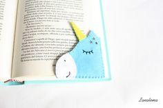Unicorn+felt+corner+bookmark+de+Lanatema+sur+DaWanda.com