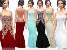 Clothing: Flower Embellished Gown by Ekinege from The Sims Resource • Sims 4 Downloads