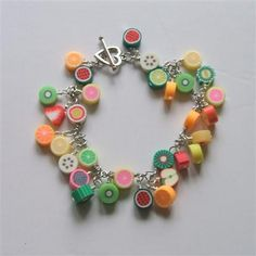 Fruit Charm Bracelet! The charms are made from fimo!