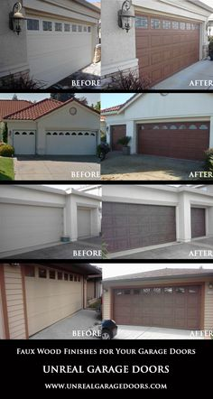 Boring garage doors - transformed! Faux wood painting give your doors the look of expensive real wood, without the huge pricetag or maintenance!