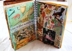 Notebook Collage, Collage Book, Notebook Ideas, Happy Journal, Junk Journal, Bullet Journals, Art Journals, Art Journal Inspiration, Journal Ideas