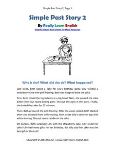 Free, printable short story, worksheets, and answer key for the English SIMPLE PAST TENSE. Simply click and print! This is perfect for ESL teachers and students!: