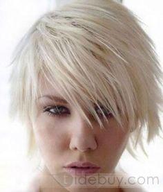 2012新しいファッションショートストレートブロンド100%人毛ウィッグ