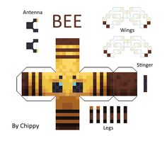 Papercraft Minecraft Bee [all textures] Minecraft Mobs, Papercraft Minecraft Skin, Minecraft Templates, Minecraft Pixel Art, Cool Minecraft, Minecraft Designs, Minecraft Crafts, Minecraft Skins, Minecraft Houses