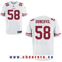 Men's San Francisco 49ers #58 Elvis Dumervil White Road Stitched NFL Nike Elite Jersey