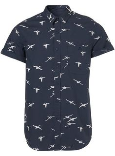 Flying Geese Print Short Sleeve Shirt by Topman