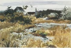 Andrew Wyeth - Rough Pasture /1939 Watercolor Artists, Watercolor Landscape, Landscape Art, Landscape Paintings, Watercolor Paintings, Watercolors, Andrew Wyeth Paintings, Andrew Wyeth Art, Jamie Wyeth
