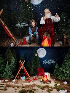 "Camping with Santa Photo Sessions featuring ""Night Sky Backdrop"" from Backdrop Express. Photos by Kyla Branch Photography."
