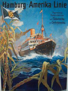 Vintage travel poster: Hamburg-Amerika Line Poster Vintage, Vintage Travel Posters, Charles Trenet, Photo Deco, Kunst Poster, Old Advertisements, Advertising Poster, Ship Art, Cruise Vacation