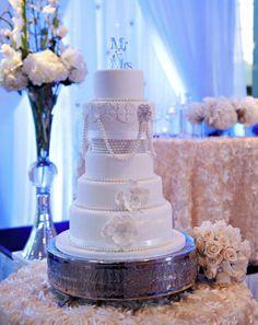 Fabulous #weddingcake at this #blue #uplighting #wedding #reception ! #diy #diywedding #unique #weddingideas #weddinginspiration #ideas #inspiration #rentmywedding #celebration #party #weddingplanner #weddingplanning #eventplanner #dreamwedding By #AeyraCakes