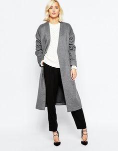 #womenfashion #style #outfit #look #fashion Women's Grey #Coat, White Cable Sweater, Black Dress Pants, Black Suede Pumps