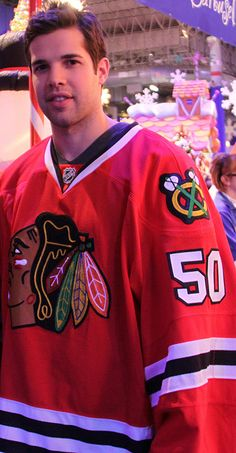 The person who was cut out of the other side of this Corey Crawford picture? Me. (Don't worry -- I cut myself out.)
