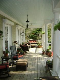 I always wanted a wrap around porch! Looks like I'm finally getting my dream home. Lots of porch decorating in my future Outdoor Rooms, Outdoor Living, Outdoor Retreat, Southern Front Porches, Country Porches, Country Porch Decor, Farmhouse Front Porches, Country Homes, Rustic Decor