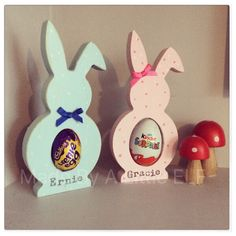 Personalised easter bunny gifts hand painted perfect for kids wooden freestanding easter bunny egg holder creme egg gift first easter personalised bunnies rabbit decoration negle