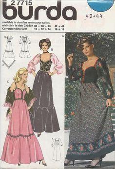 Ms Plus 16-18, VTG 1977- BURDA 22715- Long dress n shawl