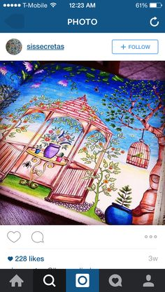 Secret garden Creative Inspiration, Color Inspiration, Joanna Basford, Johanna Basford Secret Garden, Secret Garden Coloring Book, Coloring Book Pages, Adult Coloring, Colored Pencils, Prismacolor