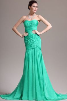 eDressit New Adorable Strapless & Sweetheart Green Evening Dress Prom Gown Green Evening Gowns, Chiffon Evening Dresses, Mermaid Evening Dresses, Strapless Dress Formal, Inexpensive Wedding Dresses, Dresses To Wear To A Wedding, Bridesmaid Dresses, Elegant Dresses, Affordable Evening Gowns