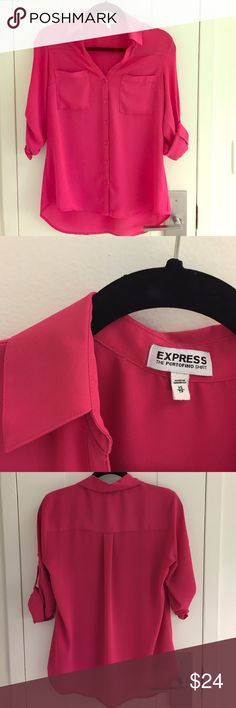EXPRESS Portofino Shirt - Pink A classic semi-sheer shirt with convertible sleeves to transition from a work outfit into a casual dinner date. Great used condition, and of course, washed and ready to go! Express Tops Blouses