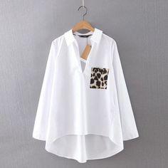 f51a7065e4e792 White Leopard Pocket HI-LO Blouse Womens Trendy Tops