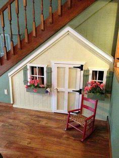11 Incredible Kids Playhouses Under The Stairs Ever thought about putting a kids' playroom under Under Stairs Playhouse, Kids Indoor Playhouse, Build A Playhouse, Playhouse Ideas, Under The Stairs, Wooden Playhouse, Under Stairs Playroom, Inside Playhouse, Girls Playhouse