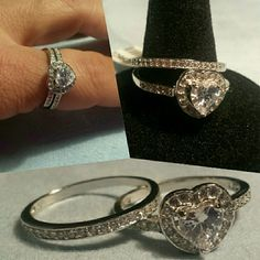 Two piece Simulated Diamond ring. New Two piece heart shaped Simulated Diamonds set in Sterling Silver. Jewelry Rings