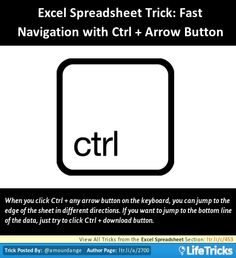 Excel Spreadsheet - Excel Spreadsheet Trick: Fast Navigation with Ctrl + Arrow Button