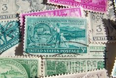 Postage Stamps US Three cent  1940s and 1950s by cynthiasattic, $6.00