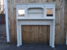 "salvaged mantel SJTPine Mantel w/Built-in Shelves & Mirrors Overall 84 1/2"" h x 78 3/4"" w Firebox 56 1/2"" h x 42"" w MT-0008"