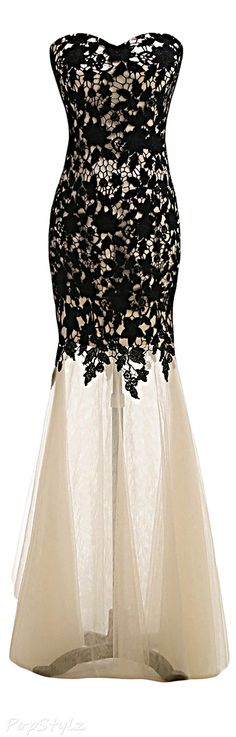 Sunvary Black Lace & Tulle Mermaid Gown