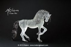Andalusian Stallion Unique Glass Sculpture flameworked by Malem Friesian Horse, Horse Sculpture, Equine Art, Corporate Gifts, Bead Art, Glass Art, Sculptures, Creatures, Horses