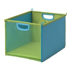 $5 - KUSINER Storage Bins from Ikea - for storing little baby toys on the bottom shelf of the bookcase.