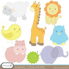 adorable zoo animal clip art, great for party invitations, birthday cards, scrapbooking projects and more.