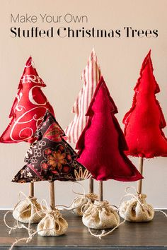 Learn how to make these adorable cloth Christmas trees to create a fun vignette this holiday season. Christmas Sewing, Christmas Projects, Family Christmas, Holiday Crafts, Christmas Ideas, Holiday Decor, Holiday Ideas, Winter Holiday, Homemade Christmas
