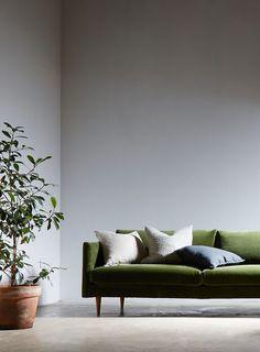 scott 3 seater sofa, grass cotton velvet   ground floor, sitting