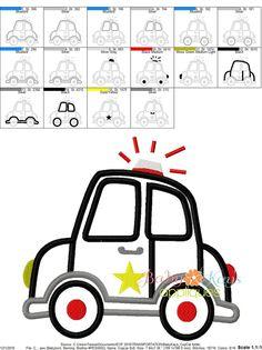 Baby Kay's Appliques - Cop Car 4x4, 5x7, 6x10, 8x8,